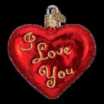 I Love You Heart Glass Ornament