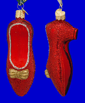 Red Ruby Slipper Old World Christmas Glass Ornament 32015 inset