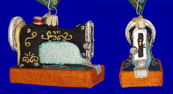 Sewing Machine Old World Christmas Glass Ornament 32103 inset
