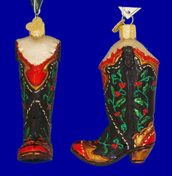 Holly Berry Cowboy Boot Glass Old World Christmas Glass Ornament 32161 inset