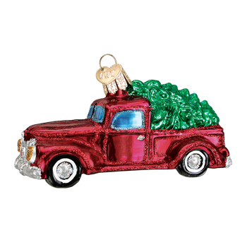 Old Truck with Tree Glass Ornament