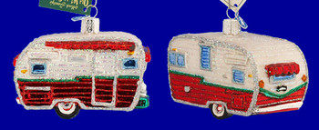 Travel Trailer Camping Old World Christmas Glass Ornament 46041 inset