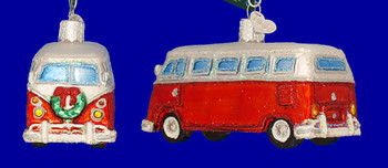 VW style Camper Van Old World Christmas Glass Ornament 46042 inset
