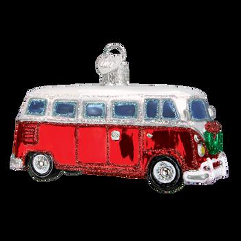 VW style Camper Van Glass Ornament