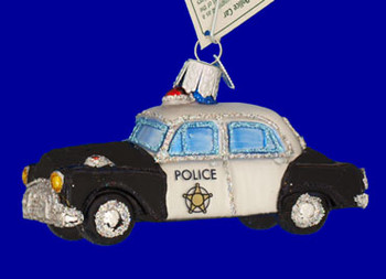 Police Car Old World Christmas Glass Ornament 46044