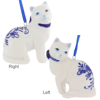 Delft Styled Blue and White Cat Ornaments