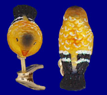 Mini Clip On Bird Goldfinch Old World Christmas Glass Ornament 18042 inset