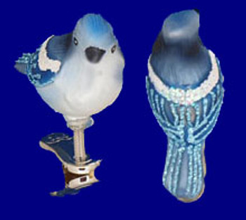 Mini Clip On Bird Blue Jay Old World Christmas Glass Ornament 18042 inset