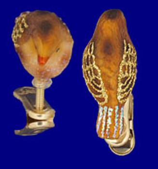 Mini Clip On Bird Wren Old World Christmas Glass Ornament 18042 inset