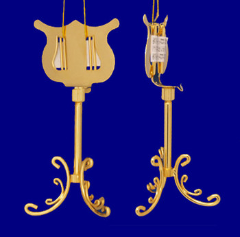 Gold Plated Metal Music Stand Ornament Miniature Music Stand 4.5 inset