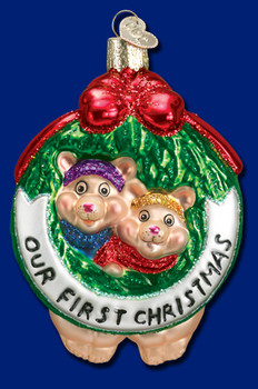 """Old World Christmas /""""First Christmas Heart/"""" 2016 Ornament-GLASS OWC 1st"""