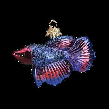 """Betta Fish Glass Ornament, 2 1/2 x 3 3/7"""", OWC #12384"""