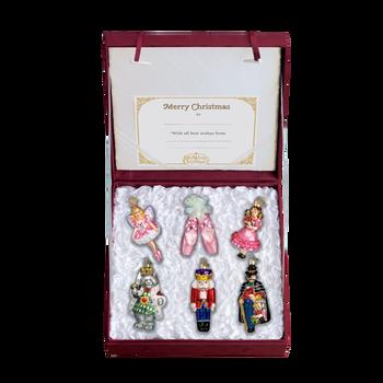 Nutcracker Ballet 6 Glass Ornaments Boxed Set