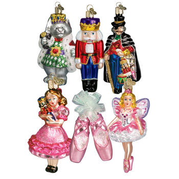 Nutcracker Ballet 6 Glass Ornaments Boxed Set Inset