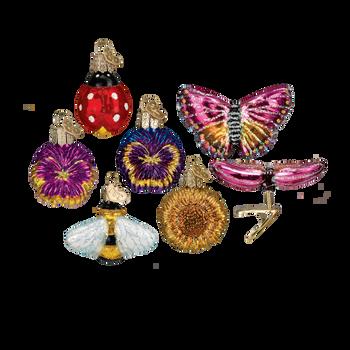 Mini Garden Glass Ornaments, 6 pc Set