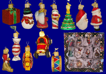 Mini Glass Christmas Ornaments 12 piece Set by Old World Christmas 14018 inset