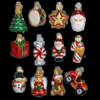 Mini Glass Christmas Ornaments, 12 pc Set
