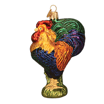 Heirloom Rooster Glass Ornament