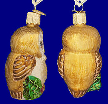 Hanging Christmas Owl Old World Christmas Glass Ornament 16094 inset