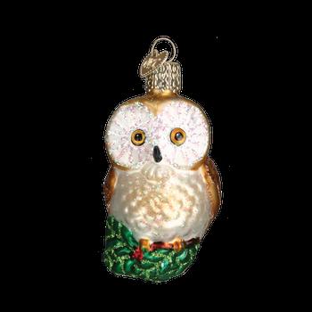 Hanging Christmas Owl Glass Ornament