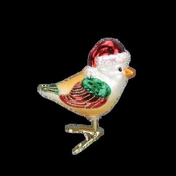 Santa Bird Glass Ornament