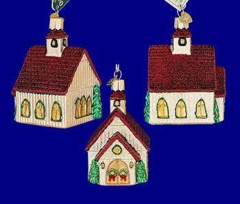 Christmas chapel Old World Christmas Glass Ornament 20063 inset