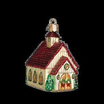 Christmas Chapel Glass Ornament