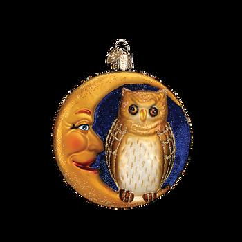 Owl In Moon Halloween Glass Ornament