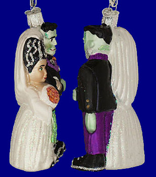 Frankenstein and Bride Glass Halloween Ornament by Old World Christmas 26065 inset