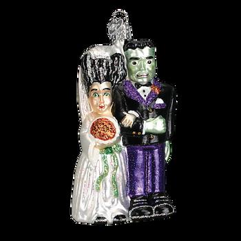 Frankenstein & Bride Halloween Glass Ornament