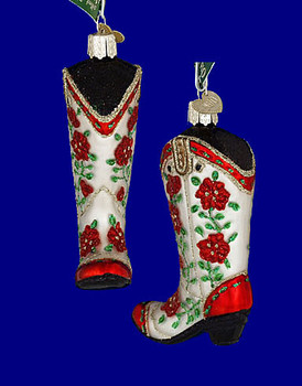 Christmas cowgirl boot Old World Christmas Glass Ornament 32160 inset