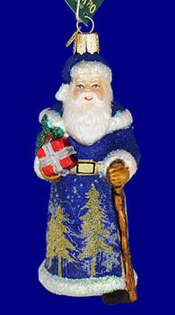 glistening midnight Santa Old World Christmas Glass Ornament 40248