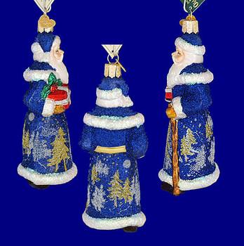 glistening midnight Santa Old World Christmas Glass Ornament 40248 inset