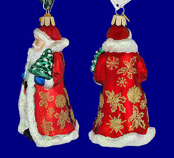 glistening golden Santa Old World Christmas Glass Ornament 40249 inset