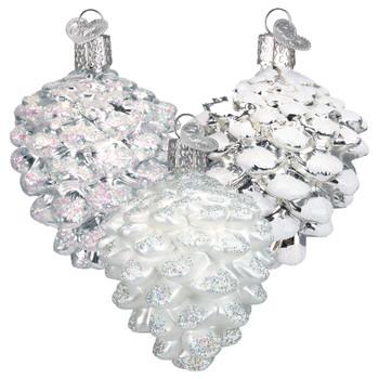 Silver Snowy Pine Cone Glass Ornament