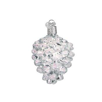 Silver Snowy Pine Cone Glass Ornament Iridescent