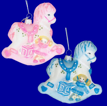 Pink or Blue Rocking Horse Baby Ornament Glass