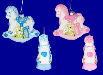 Pink or Blue Rocking Horse Baby Ornament Glass inset