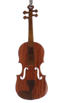 Violin Intarsia Wood Ornament