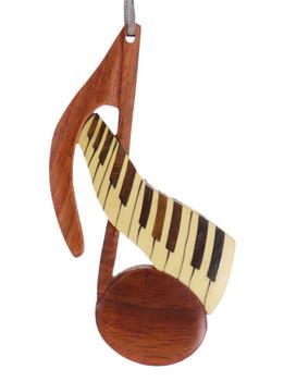 Music Note Intarsia Wood Ornament