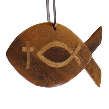 Christian Fish Intarsia Wood Ornament side