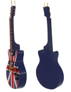 Mini Electric Guitar Ornament - Wood left side back