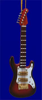 Mini Strato Caster Electric Guitar Christmas Ornament Brown 4