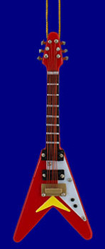 Mini Flying V Electric Guitar Christmas Ornament Red 4