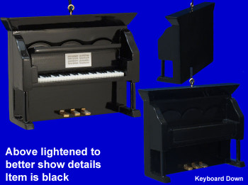 Upright Piano Ornament Mini Upright Piano Black Wood inset
