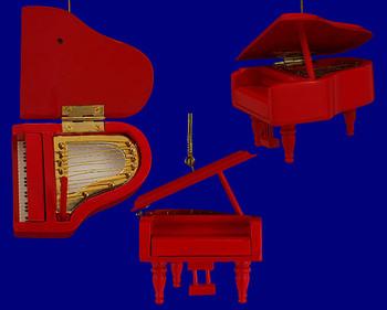 Grand Piano Ornament Mini Grand Piano Red Wood 3 inset