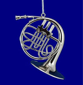French Horn Ornament Mini French Horn 3 Silver Metal Medium