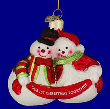 Snow Couple Our First Christmas Together Ornament Glass