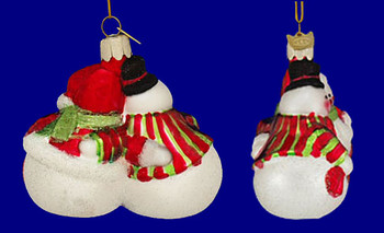 Snow Couple Our First Christmas Together Ornament Glass inset