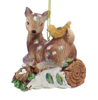 Glittered Woodland Animal Deer Ornament Front